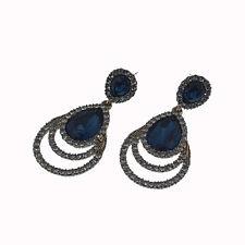 Drop Shaped Circle Pierced Dangle Earrings Jewelry Black Blue Crystal Gold Tone