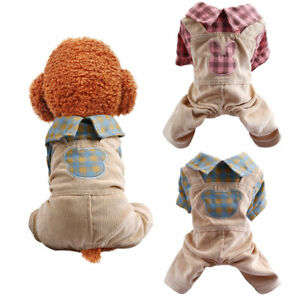 Small Pet Dog Jumpsuit Clothes Spring Summer Bear Rabbit Grid Puppy Cat Overalls