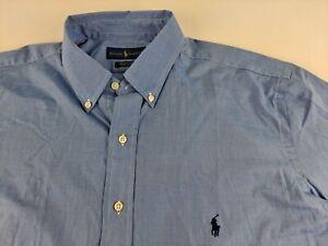 NEW Ralph Lauren Cotton Stretch Men LT Tall Blue Shirt Long Sleeve Button Down