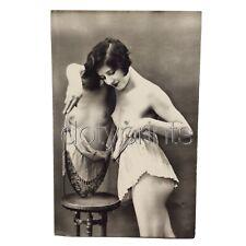 VINTAGE ORIGINAL Art Deco NUDE MODEL & MIRROR Real Photo c1920 FRANCE RPPC