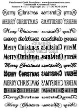 Parchment Craft Template - Christmas Xmas Words Word Pattern 101 FREE Postage UK