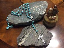 "Blessed Jerusalem Rosary Stone Beads Turquoised 18 1/2"" long Heirloom!"