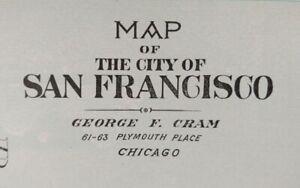 "Vintage 1902 SAN FRANCISCO CALIFORNIA Map 22""x14"" Old Antique Original PRESIDIO"