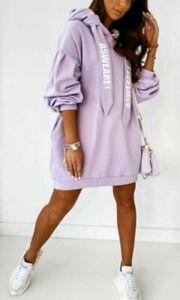 Women's Ladies Hooded Plain  Oversized pocket Sweatshirt Pullover Hoodie New