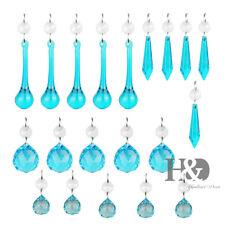 Set 20 Blue Chandelier Glass Crystals Lamp Prisms Parts Hanging Drops Pendants