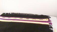 "Vintage Handmade Black w/Neon Stripes Crochet Afghan Throw Blanket 64x37"""