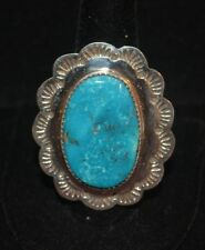 Ring Turquoise Native American Sterling Silver Navajo Artist Johnson Size 11