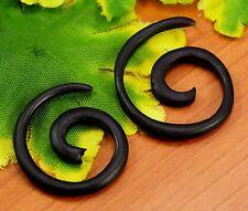 Tribal Ebony Handmade Black Wooden Nepali Round Spiral Fake Wood Earrings EAR38