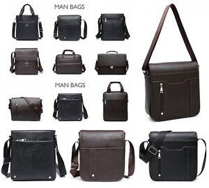 Mans Faux Leather Travel Shoulder Bag Cross Body Briefcase Messenger Handbag