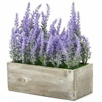Artificial Lavender Fake Flower Plant in Rustic Pot Wooden Box for Decorations