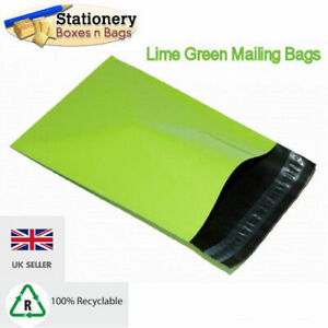 """50 Lime Neon Green 4.5"""" x 6.5"""" Mailing Postal Packaging Bags 120x170mm Self Seal"""