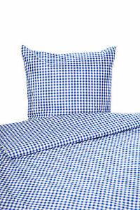 Landhaus Bettwäsche blau-weiß-kariert mit Reißverschluss 100% Baumwolle