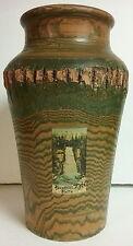 "Bushkill Falls c. 1910 Souvenir Adirondack Style 11"" Tall Turned Wood Vase Bark"