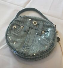 SS15 $575 MOSCHINO COUTURE Jeremy Scott Barbie Sequined Light Blue Denim Handbag