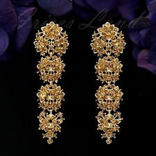 18K Gold Plated GP Topaz Crystal Rhinestone Chandelier Drop Dangle Earrings 0054