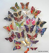 VINTAGE BUTTERFLY PIN LOT 22pc colorful FIGURAL BUG display BRIDAL BOUQUET B9