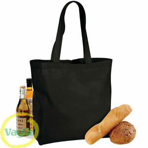 100% Premium Cotton Maxi Wide Shopping Bag Shoulder Tote Shopper Reusable  BLACK