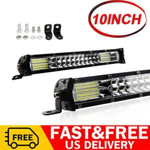 10inch 180W Slim LED Work Light Bar Dual Row Combo Spot Flood OffRoad SUV ATV US