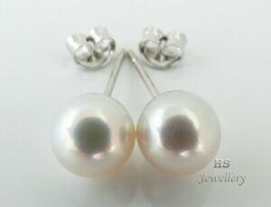 HS Japanese Akoya Cultured Pearl 8mm 14K White Gold Stud Earrings Top Grading NR