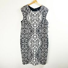 NWT R & K Size 18W Black White Print Shift Sleeveless Career Casual Dress