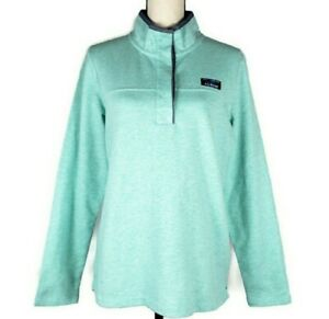 L.L. Bean Soft Cotton Rugby Henley Pullover Green Top Size M