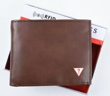 GUESS Men's Brown RFID Protection Bifold Wallet with ID Flap - Boxed