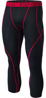 TSLA Men's 3/4 Compression Pants, Cool Dry Capri Running Workout Tights