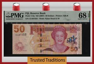 TT PK 113a ND (2007) FIJI 50 DOLLARS QUEEN ELIZABETH II PMG 68 EPQ NONE FINER!