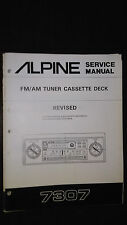 Alpine 7307 Service Manual car radio cassette tape player 2 book lot revised