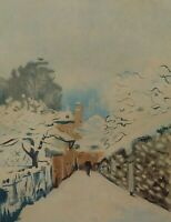 SNOW AT LOUVECIENNES. COLOR ENGRAVING. SISLEY SIGNED. FRANCE. XIX CENTURY