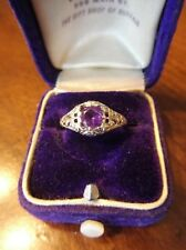 Antique Vintage Victorian 14k White Gold Filigree Amethyst Ring (A73)