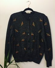 Vintage Valentino Knitted Wool Cardigan. Sparkly Black Bee Pattern. Size 10