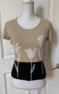 Vintage Kenzo Jeans Women's S/S T-Shirt Top Tan Black White Flowers Tag Size XL