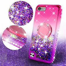 For iPod Touch 5th 6th Bling Ring Liquid Glitter Kickstand Protective Case Cover