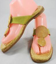 Castaner Espadrilles Thong Flip Flop Sandals - Green & Gold size 38 (US 7.5)