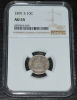 1891-S 10C Seated Liberty Silver Dime Graded by NGC as AU 55