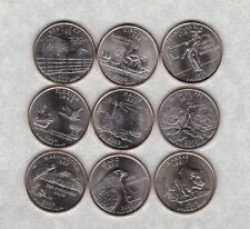 NINE DIFFERENT USA STATE QUARTER DOLLARS 1999 TO 2007 IN NEAR MINT CONDITION