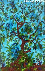 Tree Of Life Design Cotton Fabric Handmade Small Tapestry Wall Hanging Poster