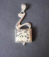 Dalmatiner Jaspis Anhänger in 925 Sterlingsilber, Edelstein Anhänger in Silber