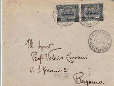 ERITREA-Coppia 20 su 15c(46)-Busta Asmara->Bergamo 27.7.1921