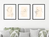 Trendy Line Art Prints Set of 3x Abstract Lady Figure Drawings Modern Minimalist