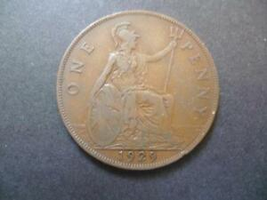 1929 ONE PENNY COIN KING GEORGE THE FIFTH, BRONZE, GOOD USED CONDITION.