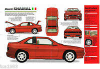 Maserati SHAMAL SPEC SHEET / Brochure / Photo's: 1995,1994,1993,1992