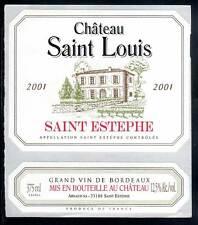 étiquette Château SAINT LOUIS. 2001. Saint-Estèphe. 375ml