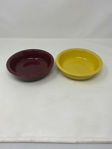 HLC Fiesta Ceramic Stoneware Bowls Burgundy Yellow Cereal Soup Bowls