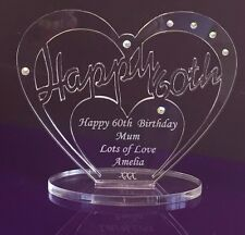 Personalised 60th Birthday Gift Heart with message -  Free Standing Keepsake