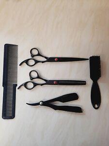 """Black premium 6"""" scissors cutting and thinning cut throat comb fade brush"""