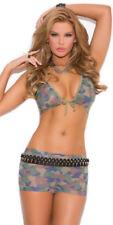 Sexy Stylish Seductive Costume Camouflage Print Bra and Shorts Lingerie Set O/S