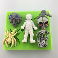 SPOOKY Halloween Silicone Mould Cake Decoration Chocolate Fimo Polymer Toppers