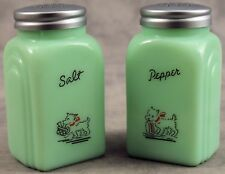 JADEITE GREEN GLASS WESTIE WEST HIGHLAND TERRIER SALT & PEPPER SHAKER SET